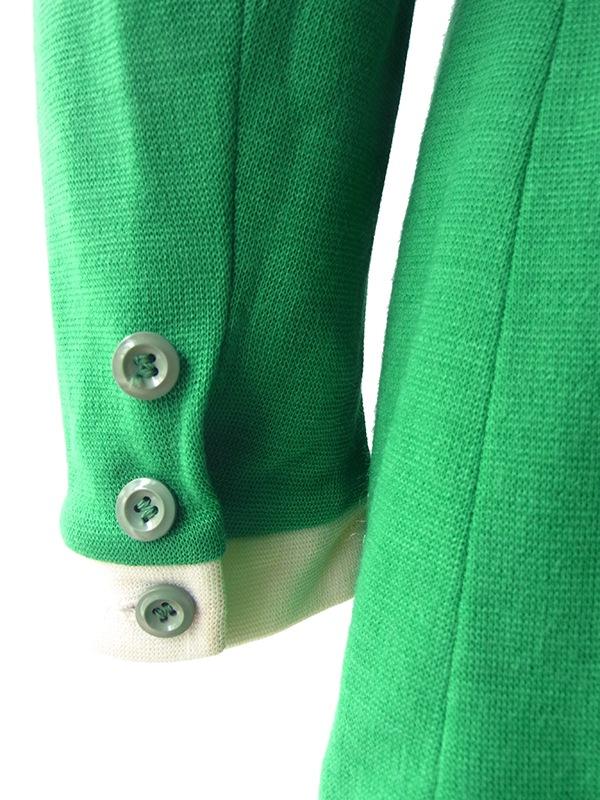ヨーロッパ古着 ロンドン買い付け 60年代製 グリーン X オフホワイト ピンク 花柄刺繍 レトロ ワンピース 16BS414
