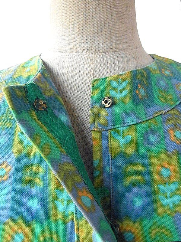 ヨーロッパ古着 フランス買い付け 60年代製 パステルカラー グリーン X ブルー レトロ花柄イラスト ヴィンテージ ワンピース 16FC003