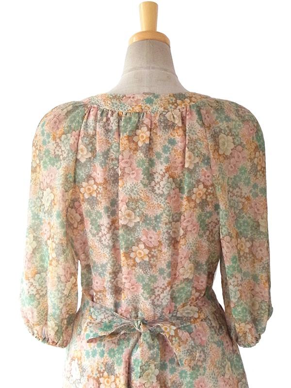 ヨーロッパ古着 フランス製 花柄のふんわりシルエット 共布ベルト付き ヴィンテージ ワンピース 16FC012