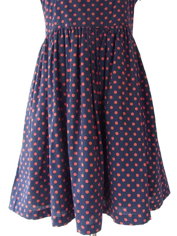 ヨーロッパ古着 フランス買い付け ブルー X レッド 水玉 ギャザースカート レトロ ワンピース 16FC013