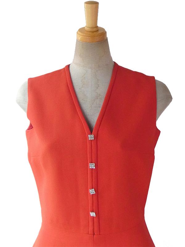 ヨーロッパ古着 フランス買い付け 60年代製 レッド x ラインストーン 飾りボタン エレガントシルエット ウール ドレス 16FC016