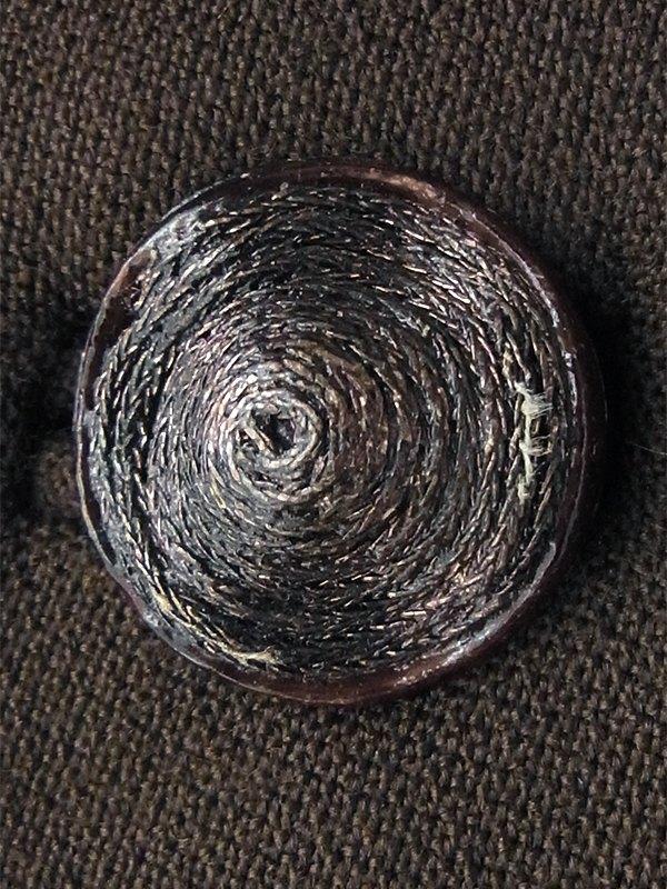 ヨーロッパ古着 フランス買い付け 60年代製 ブラウン X 襟・袖ファー デザインボタン ヴィンテージコート 16FC020