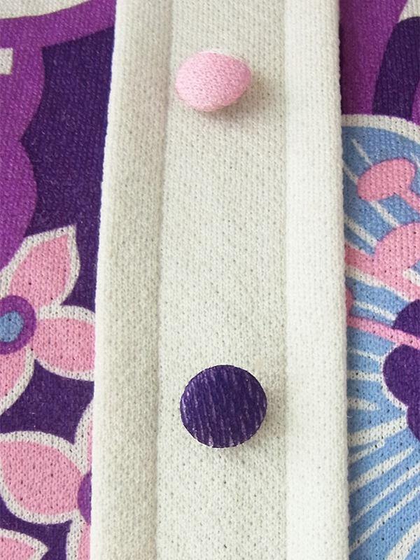 ヨーロッパ古着 60年代フランス製 パープル X ホワイト レトロ花柄 プリーツスカート ワンピース 16FC201