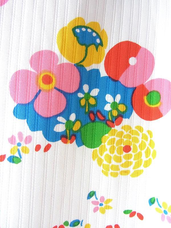 ヨーロッパ古着 フランス買い付け 60年代製 ホワイト X カラフルなレトロ花柄 Aライン ワンピース 16FC208