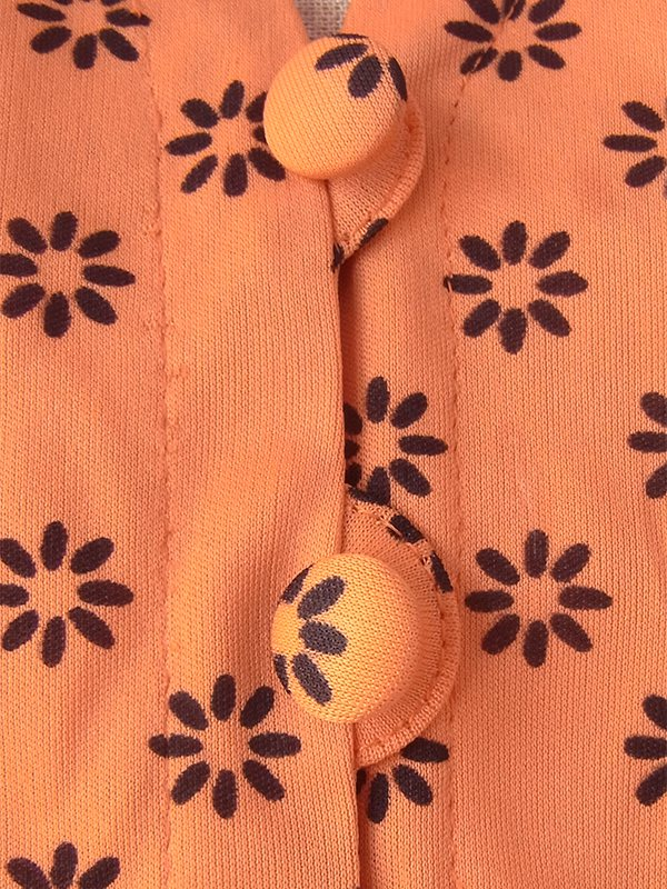 ヨーロッパ古着 フランス買い付け 70年代製 オレンジ X ブラック レトロ柄 ボウタイ ベルト付き ワンピース 16FC212