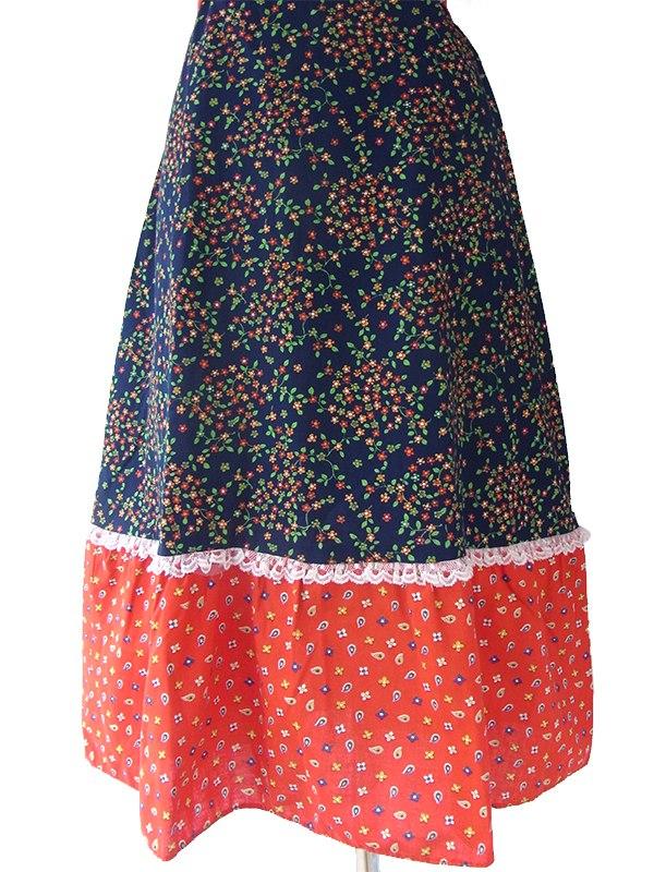 ヨーロッパ古着 フランス買い付け 60年代製 レッド X ネイビー 小花柄 生地切り返し チロリアン ワンピース 16FC214