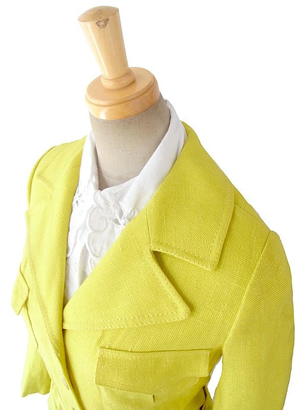 【送料無料】フランス買い付け 60年代製 イエロー X ビッグステッチ ベルト付き スプリング コート 16FC222【ヨーロッパ古着】