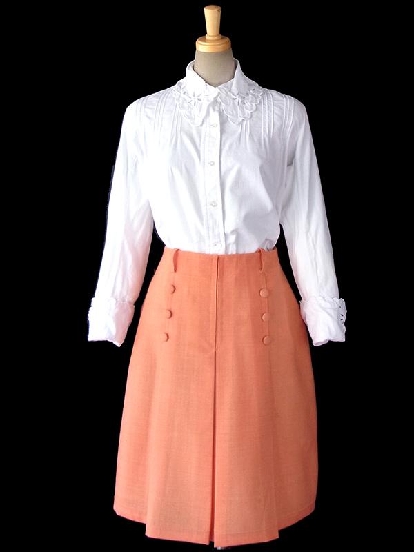 ヨーロッパ古着 フランス買い付け 60年代製 アプリコット X 3連飾りボタン センタープリーツ スカート 16FC224