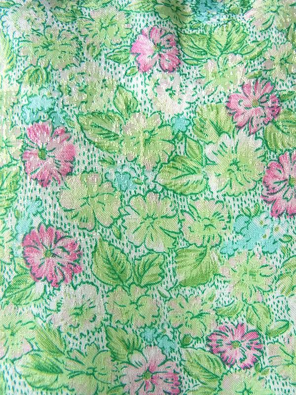 ヨーロッパ古着 フランス買い付け 60年代製 花柄生地がグリーンの生地を包む ピンクライニング ワンピース 16FC305