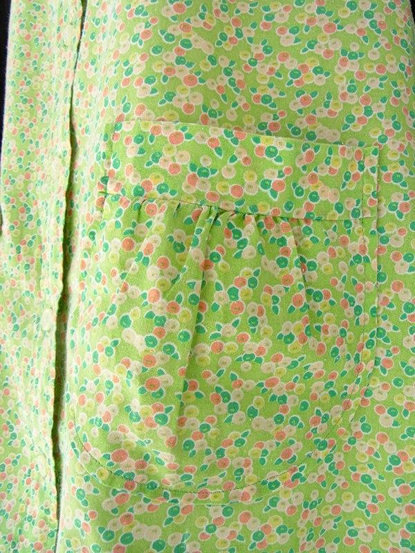 ヨーロッパ古着 フランス買い付け 60年代製 黄緑 X カラフル 小花柄 パフスリーブ シャツワンピース 16FC308