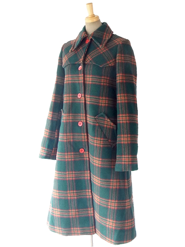 ヨーロッパ古着 60年代製 モスグリーン・ブラウン・レッド チェック柄 ヴィンテージ ウールコート 16FC500