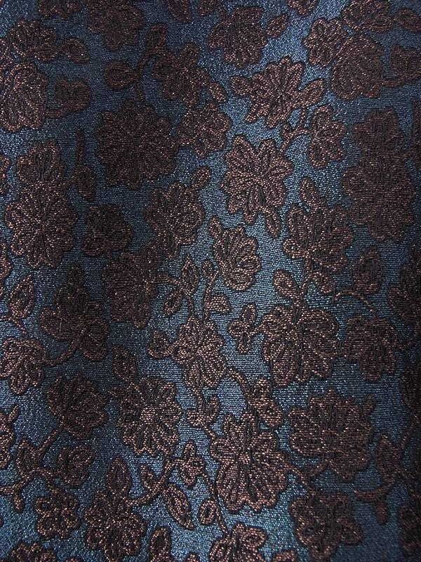 ヨーロッパ古着 フランス買い付け 60年代製 ダークブルー X ブロンズ 花柄ダマスク織り ヴィンテージ ドレス 16FC509