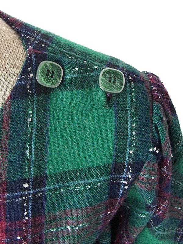 ヨーロッパ古着 フランス買い付け 60年代製 グリーン X ネイビー・レッド チェック柄 肩ボタン パフスリーブ ウール ワンピース 16FC511