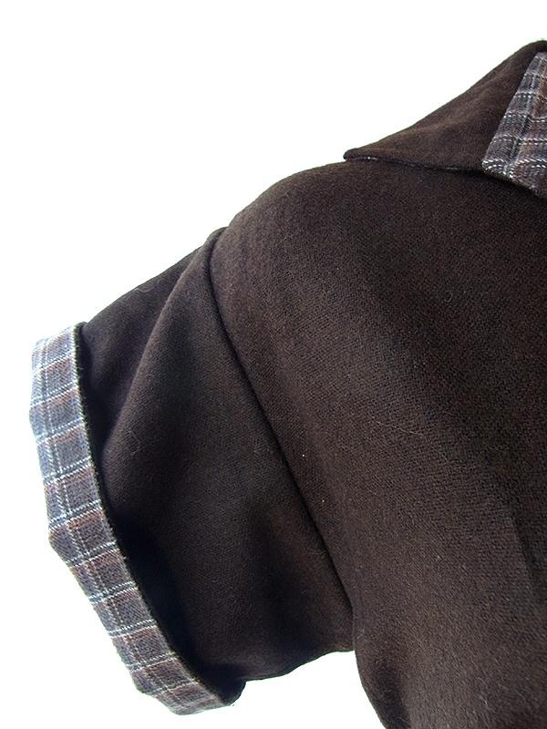ヨーロッパ古着 60年代フランス製 claude sylger ブラウン X チェック 固定ベルト付き ヴィンテージ ワンピース 16FC513