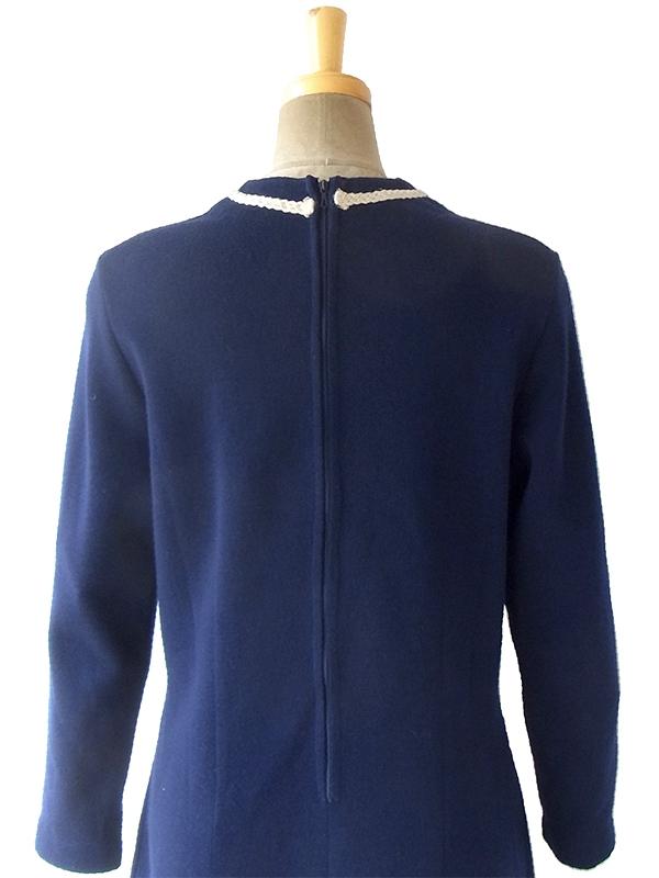 ヨーロッパ古着 フランス買い付け 60年代製 ネイビー X ホワイト・シルバーラメ糸 コードパイピング ウール ワンピース 16FC515