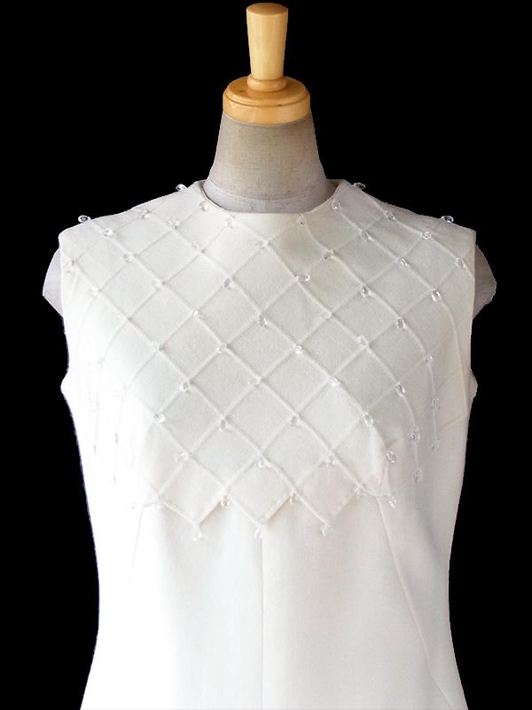 ヨーロッパ古着 フランス買い付け 60年代製 アイボリー X ラインストーン飾り ヴィンテージ ウール ドレス 16FC516