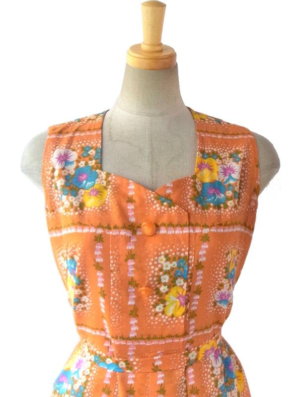 ヨーロッパ古着 ロンドン買い付け 60年代製 オレンジ X カラフルレトロ花柄 デザインボタン 共布ベルト浮き ワンピース 16OM025