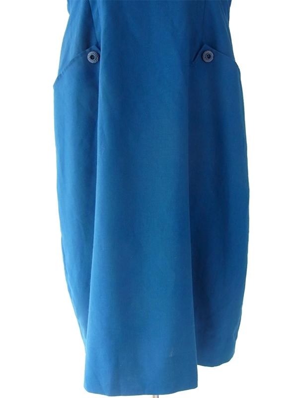 ヨーロッパ古着 ロンドン買い付け 60年代製 コバルトブルー X リボン付き コクーンシルエット ワンピース 16OM202