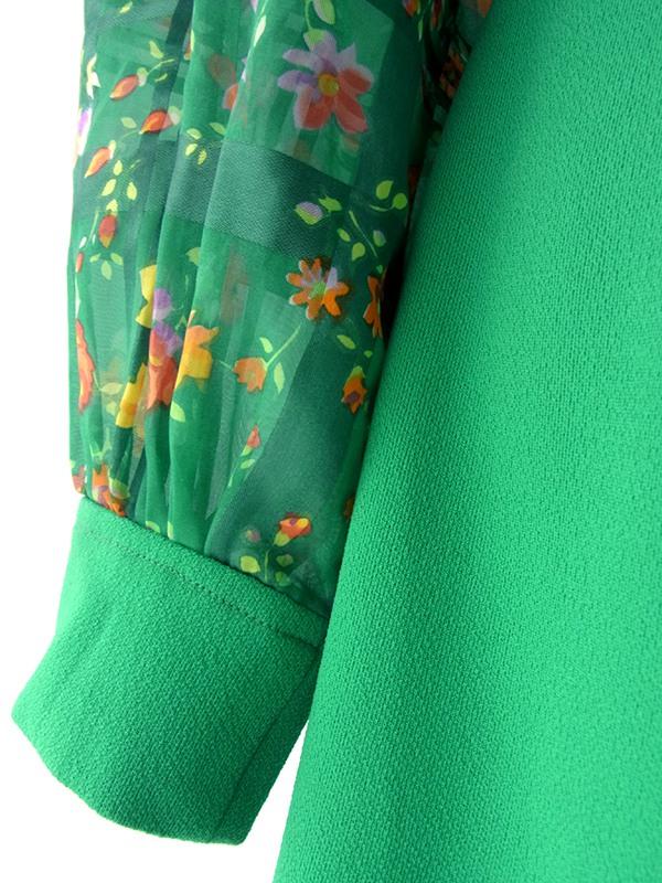 ヨーロッパ古着 ロンドン買い付け 60年代製 グリーン X 花柄生地切り返し リボンタイ レトロ ワンピース 16OM204