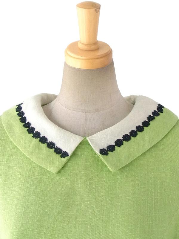 ヨーロッパ古着 ロンドン買い付け 60年代製 ライムグリーン X ホワイト襟・ブラック刺繍テープ飾り レトロ ワンピース 16OM206