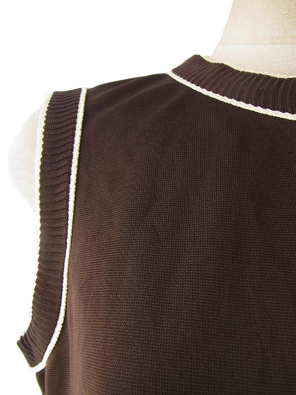 ヨーロッパ古着 ロンドン買い付け 60年代製 ブラウン X ホワイト縁取り きれいなシルエットのヴィンテージワンピース 16OM208
