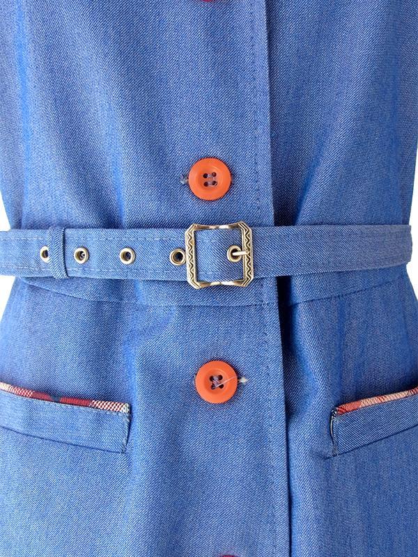 ヨーロッパ古着 ロンドン買い付け ブルー X チェック柄 ベルト付き ヴィンテージ デニム ワンピース 16OM217