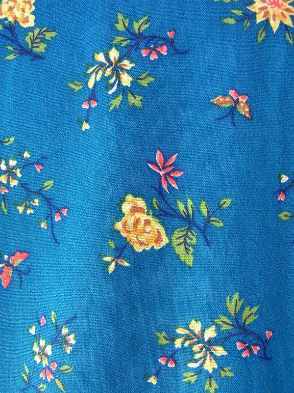ヨーロッパ古着 ロンドン買い付け ターコイズブルー X 花柄 イエロー パイピング フロントジップ レトロワンピース 16OM219