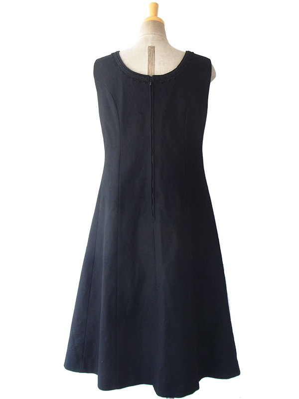 ヨーロッパ古着 ロンドン買い付け 60年代製 ブラック X コードレース・刺繍 ベルベット切り返し ウール ワンピース 16OM236