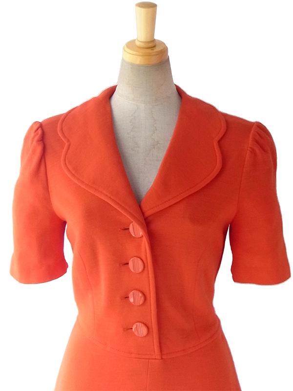 ヨーロッパ古着 ロンドン買い付け 60年代製 レッド X 襟の形がかわいらしい レトロ ワンピース 16OM306