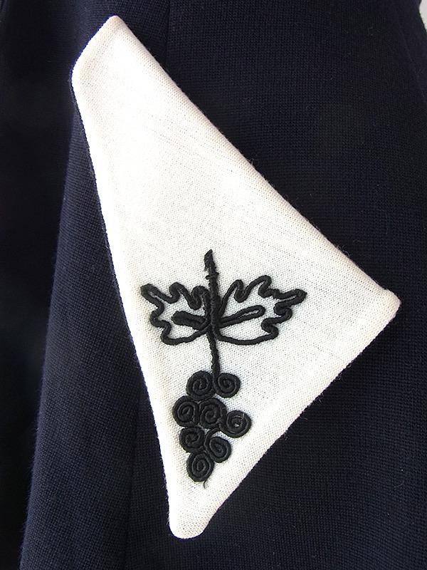 ヨーロッパ古着 ロンドン買い付け 60年代製 ブラック X ホワイト ブドウ柄 コード刺繍 フロントジップ ウールワンピース 16OM328