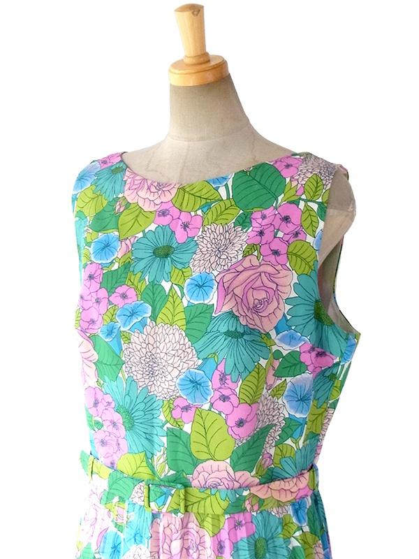 ヨーロッパ古着 ロンドン買い付け 60年代製 カラフルな花柄プリント X 同柄ベルト付き プリーツ ワンピース 16OM402