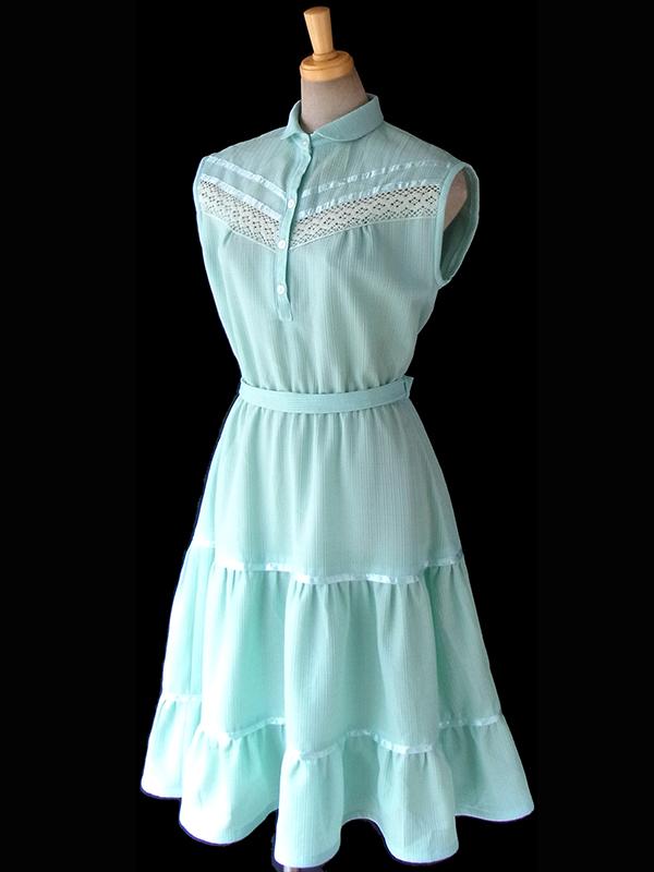 ヨーロッパ古着 ロンドン買い付け 60年代製 ミントブルー X カットレース・テープ装飾 共布ベルト付き ワンピース 16OM403
