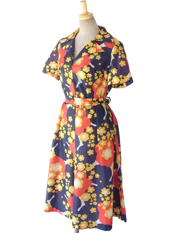 ヨーロッパ古着 ロンドン買い付け 60年代製 ネイビー X カラフルなレトロ花柄 共布ベルト付き ワンピース 16OM405