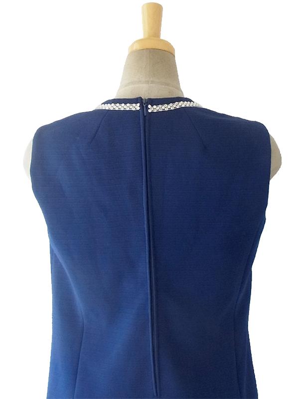 ヨーロッパ古着 ロンドン買い付け ロイヤルブルー X ラインストーン飾り ダイヤ型ステッチ ヴィンテージ ワンピース 16OM407