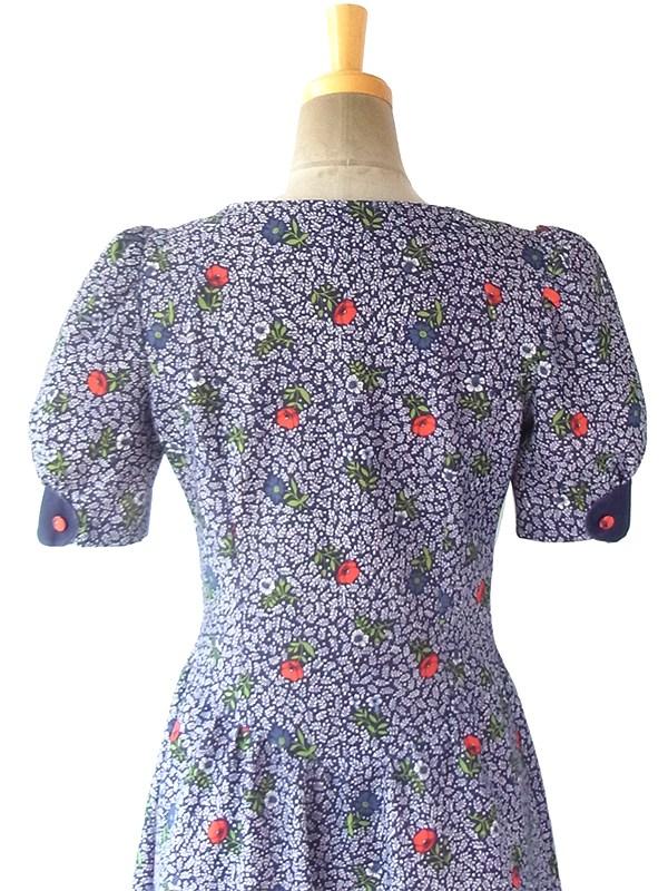 ヨーロッパ古着 ロンドン買い付け 60年代製 ブルーX レッド・パープル花柄 くるみボタン パフスリーブ ワンピース 16OM415