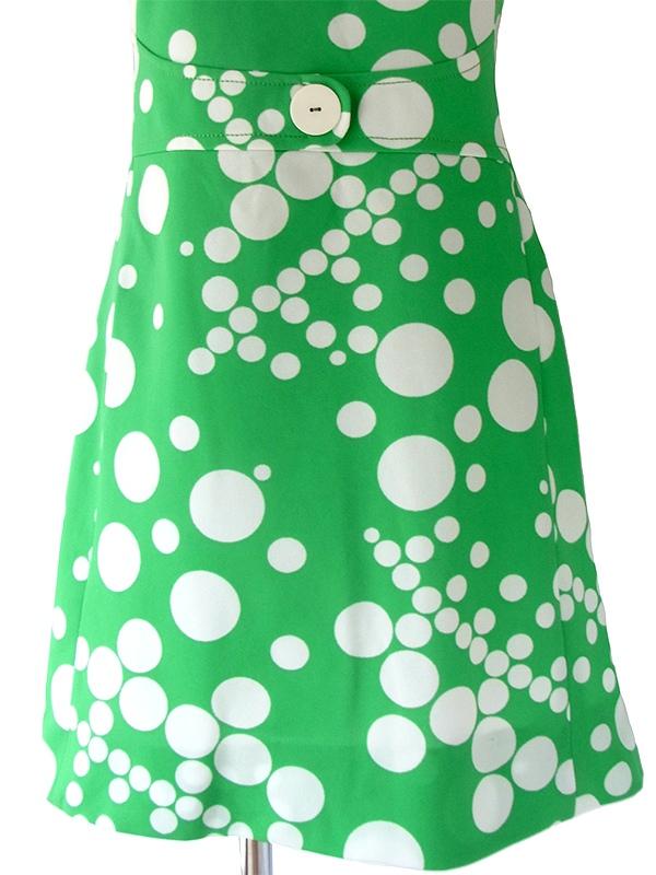 ヨーロッパ古着 ロンドン買い付け 60年代製 グリーン X ホワイト 水玉 レトロ ワンピース 16OM420