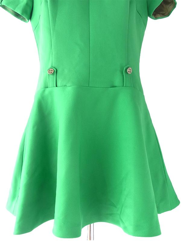 ヨーロッパ古着 ロンドン買い付け 60年代製 グリーン X ボタンデザイン ポケット付き レトロ ワンピース 16OM503