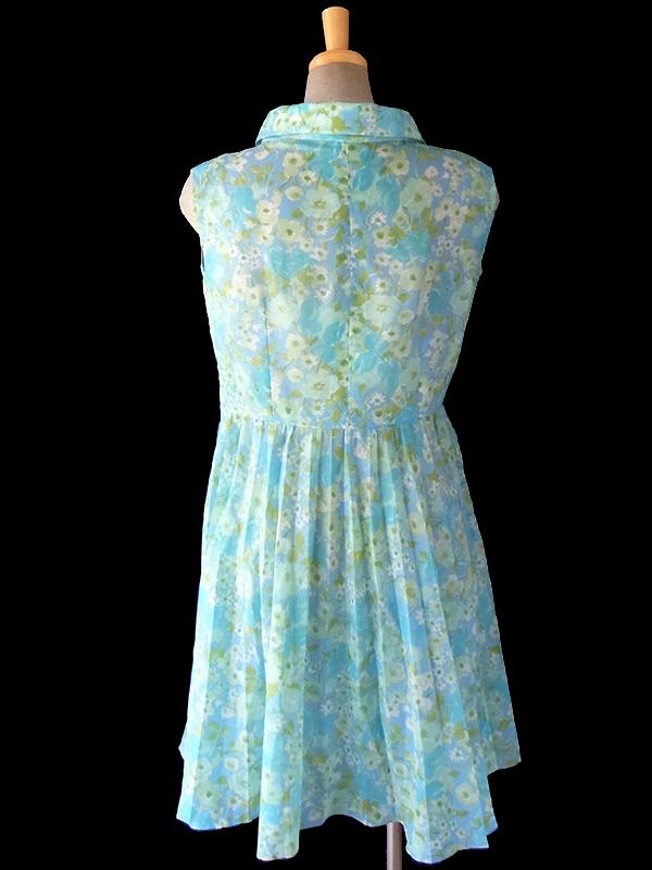 ヨーロッパ古着 ロンドン買い付け ペールトーンの水色 花柄 ロールカラー プリーツ ワンピース 16OM513