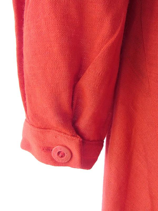 ヨーロッパ古着 ロンドン買い付け 70年代製 ダークオレンジ X グレイ ストライプ 共布ベルト付き レトロ ワンピース 16OM518