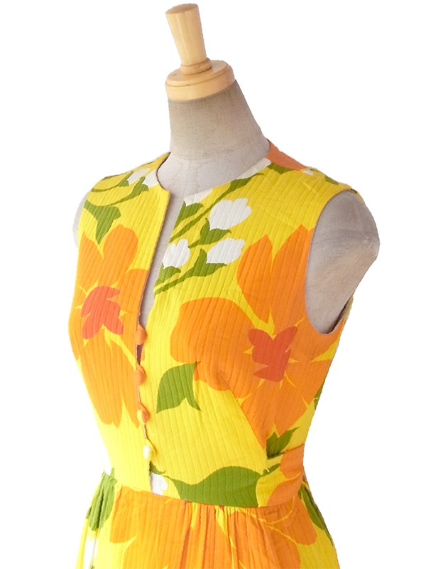 ヨーロッパ古着 ロンドン買い付け 60年代製 イエローX 南国風花柄 共布ベルト付き ヴィンテージ ワンピース 16OM712