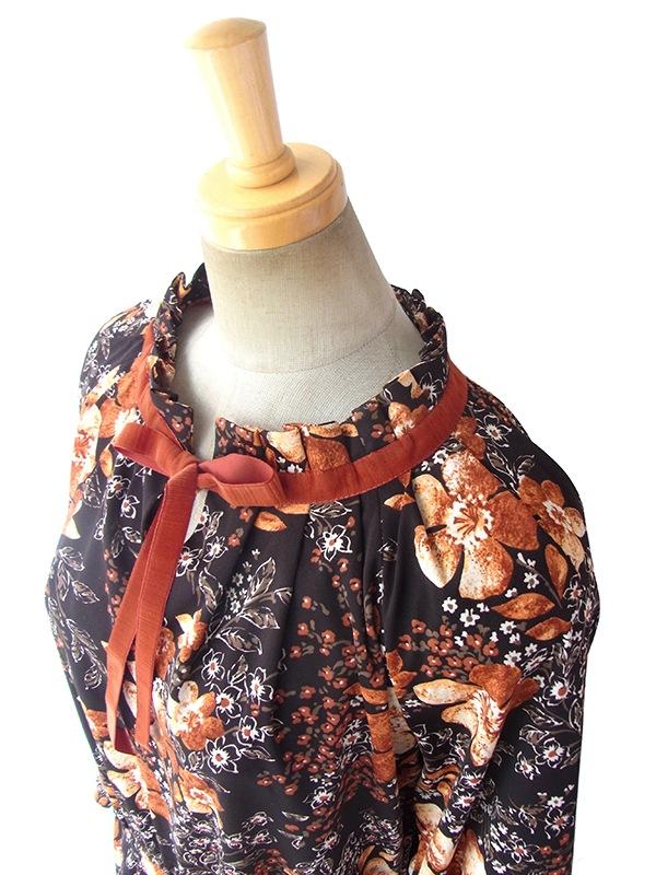ヨーロッパ古着 ロンドン買い付け 70年代製 ダークブラウン X 花柄プリント オレンジベロアテープ ワンピース 16OM811