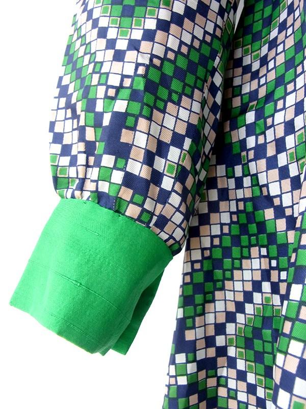 ヨーロッパ古着 ロンドン買い付け グリーン X ブルー・グレージュ・ホワイト 幾何学模様 レトロ ワンピース 16OM822