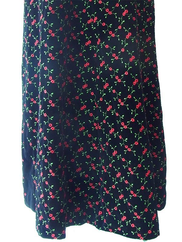 ヨーロッパ古着 ロンドン買い付け 60年代製 ブラック X 薔薇刺繍  共布巾着付き ロング ベルベット ドレス 16OM907