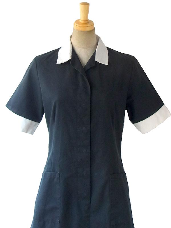 ヨーロッパ古着 60年代スコットランド製 ブラック X ホワイト襟・袖口 ポケット付き ワンピース 16OM912