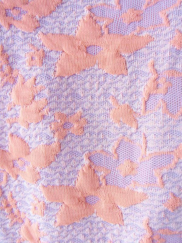 ヨーロッパ古着 ロンドン買い付け パステルカラー ピンク X パープル モコモコの花柄が浮かぶ レトロ ワンピース 16OM915