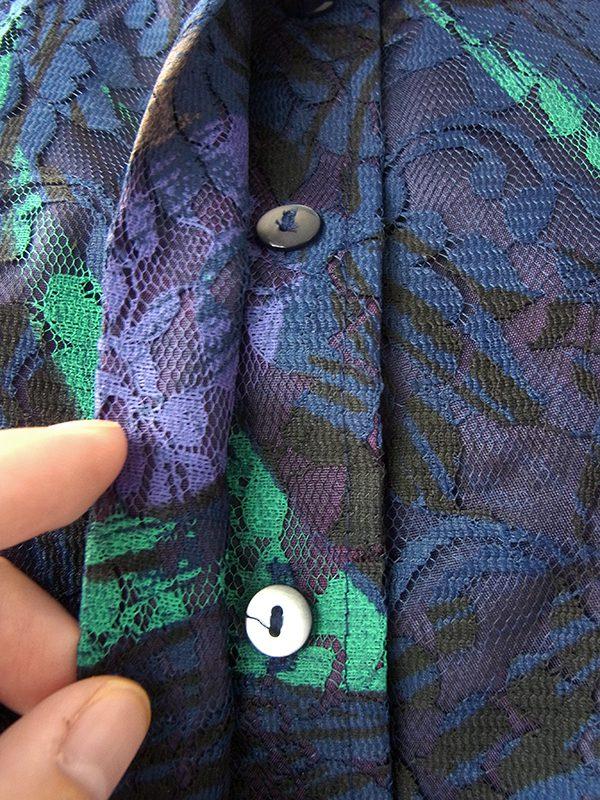 ヨーロッパ古着 ロンドン買い付け 70年代製 ブルーを基調とした花柄総コードレース ワンピース 16OM924