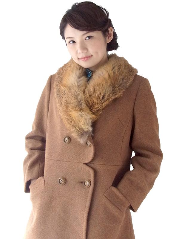 ヨーロッパ古着 ロンドン買い付け 60年代製 ブラウン X ふかふかファー襟 スカラップ風ウェスト ウール コート 16OM929