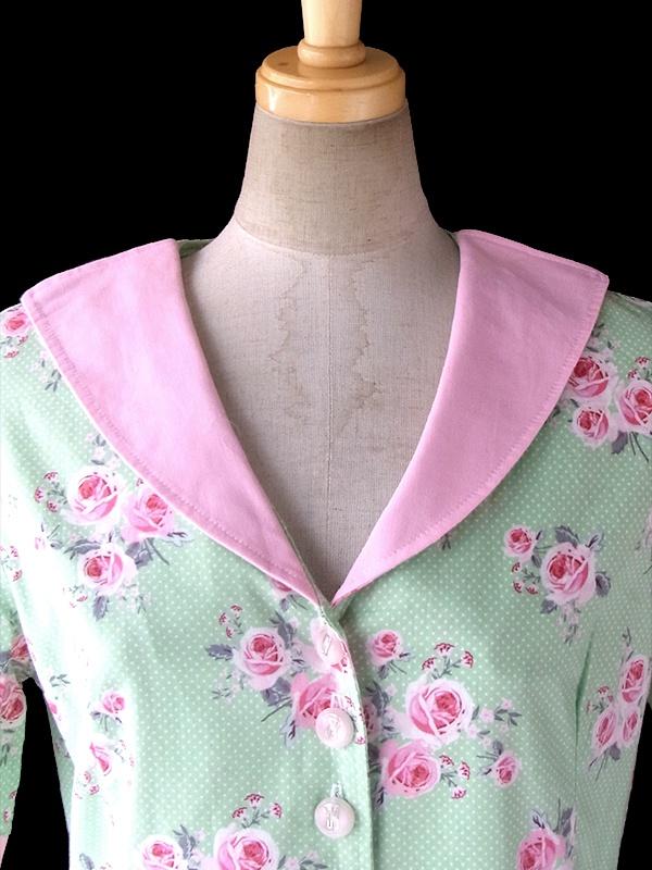 ヨーロッパ古着 ロンドン買い付け 60年代製 ライムグリーン X ピンク 薔薇プリント・水玉 ヴィンテージ ワンピース 17BS013