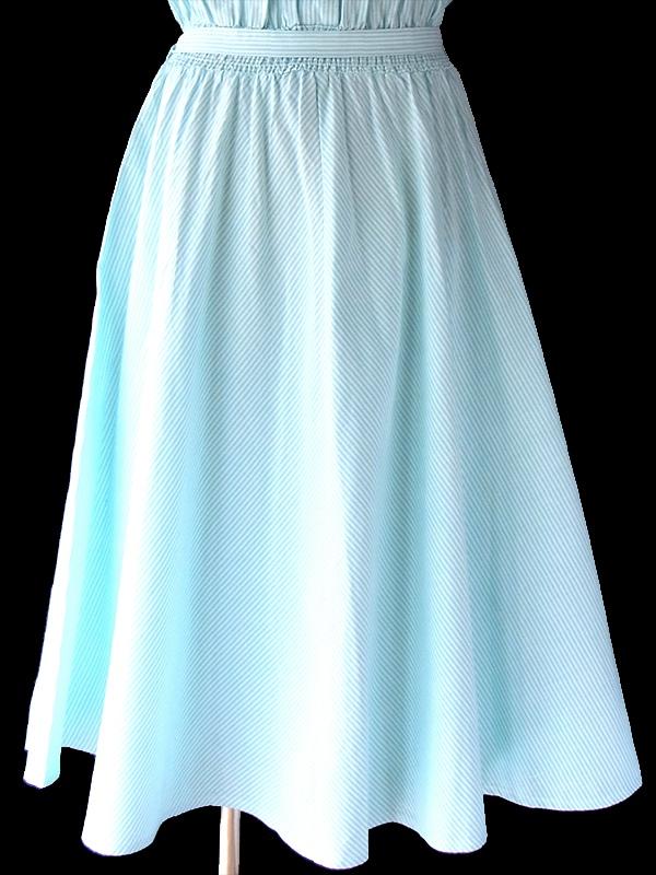 ヨーロッパ古着 ロンドン買い付け 70年代製 水色 X ホワイト ストライプ レース飾り 共布ベルト付き ワンピース 17BS014