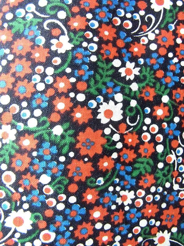 ヨーロッパ古着 ロンドン買い付け 60年代製 カラフル花柄 X ホワイトレーステープ ホルターネック ワンピース 17BS016